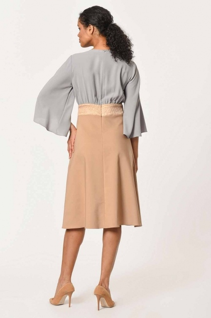 Stone Detailed Two-Color Dress (Beige) - Thumbnail