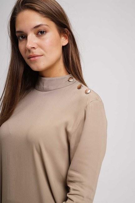 MIZALLE - Omzu Düğmeli Tunik Bluz (Bej) (1)