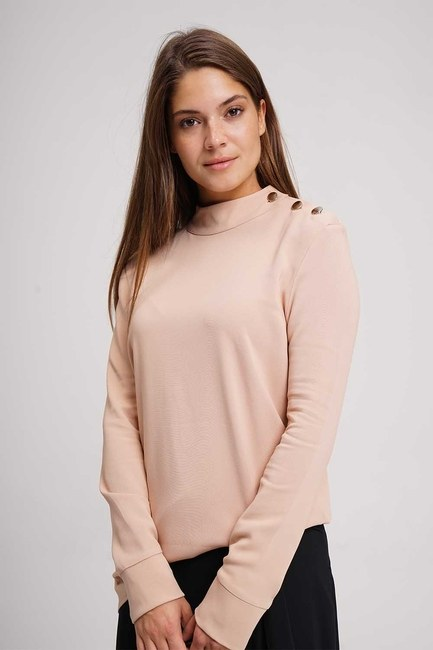 Shoulder Button Tunic Blouse (Powder) - Thumbnail