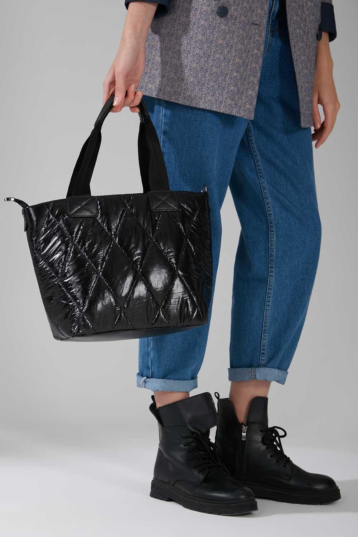 Mizalle - Ön Cep Detaylı Şişme Omuz Çantası (Siyah)