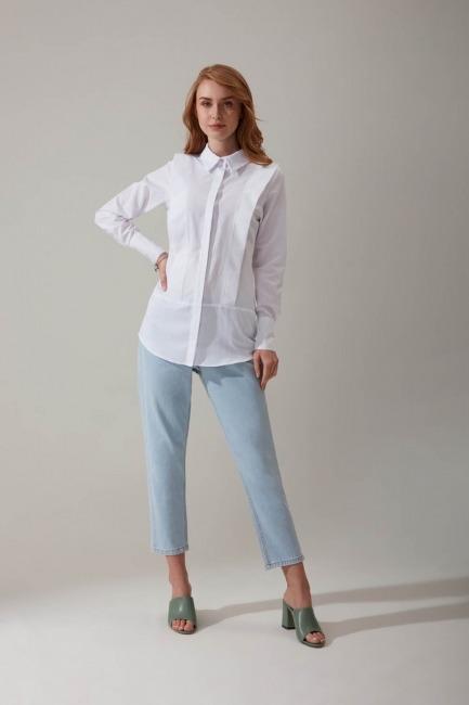 Mizalle - Parçalı Beyaz Gömlek