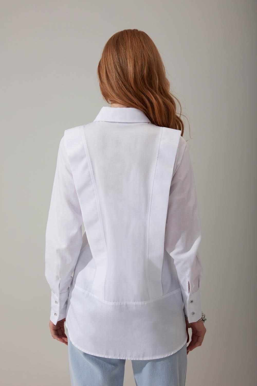 Parçalı Beyaz Gömlek
