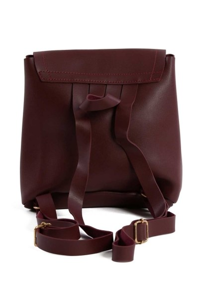 MIZALLE - Front Snap-on Women's Backpack (Claret Red) (1)