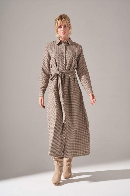 Önden Düğmeli Elbise (Bej)