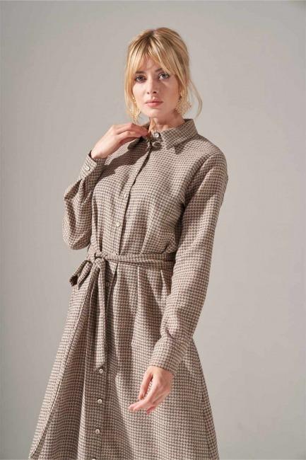 Önden Düğmeli Elbise (Bej) - Thumbnail