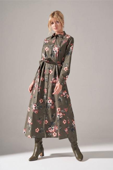 Mizalle - Önden Düğmeli Elbise (Haki)