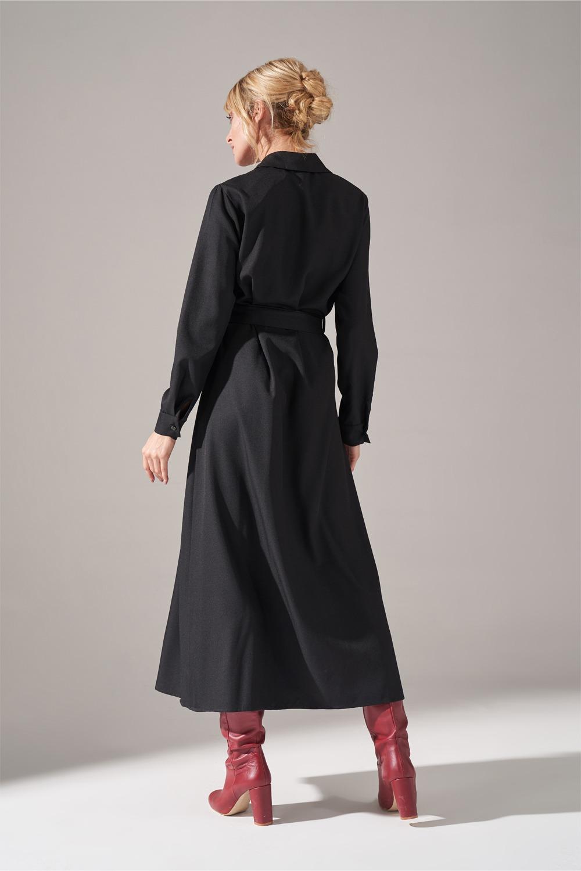 Önden Düğmeli Siyah Elbise