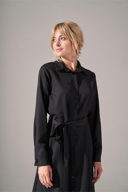 Önden Düğmeli Elbise (Siyah)