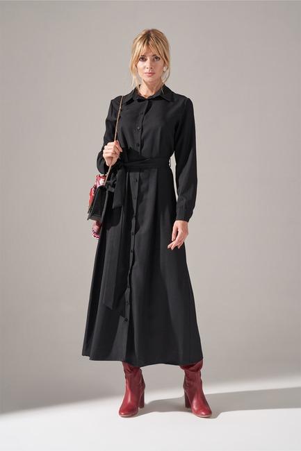 Önden Düğmeli Elbise (Siyah) - Thumbnail