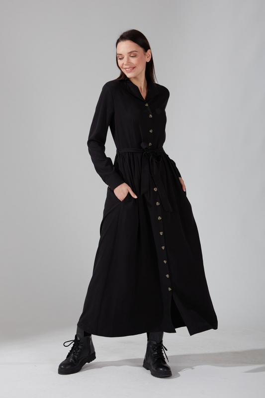 Önden Düğmeli Kupra Siyah Elbise