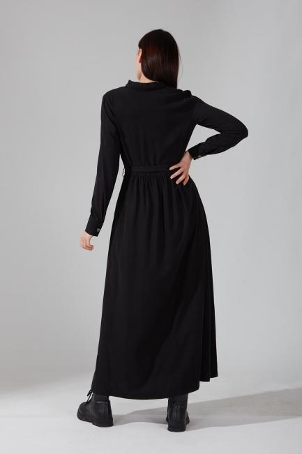 Önden Düğmeli Kupra Siyah Elbise - Thumbnail