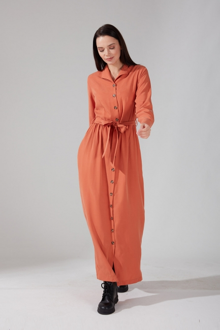 Mizalle - Önden Düğmeli Kupra Somon Elbise