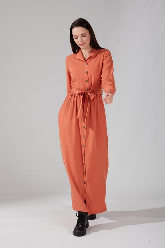 Önden Düğmeli Kupra Somon Elbise