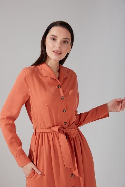 Önden Düğmeli Kupra Somon Elbise - Thumbnail