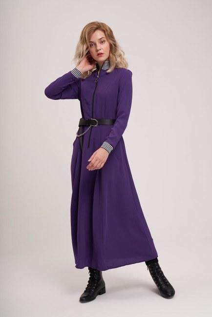 Önden Fermuar Ve Ribana Detaylı Elbise (Mor) - Thumbnail