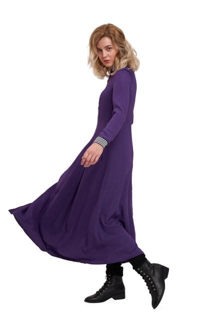 MIZALLE YOUTH - Önden Fermuar Ve Ribana Detaylı Elbise (Mor) (1)