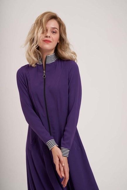 Front Zipper Detailed Dress (Purple) - Thumbnail