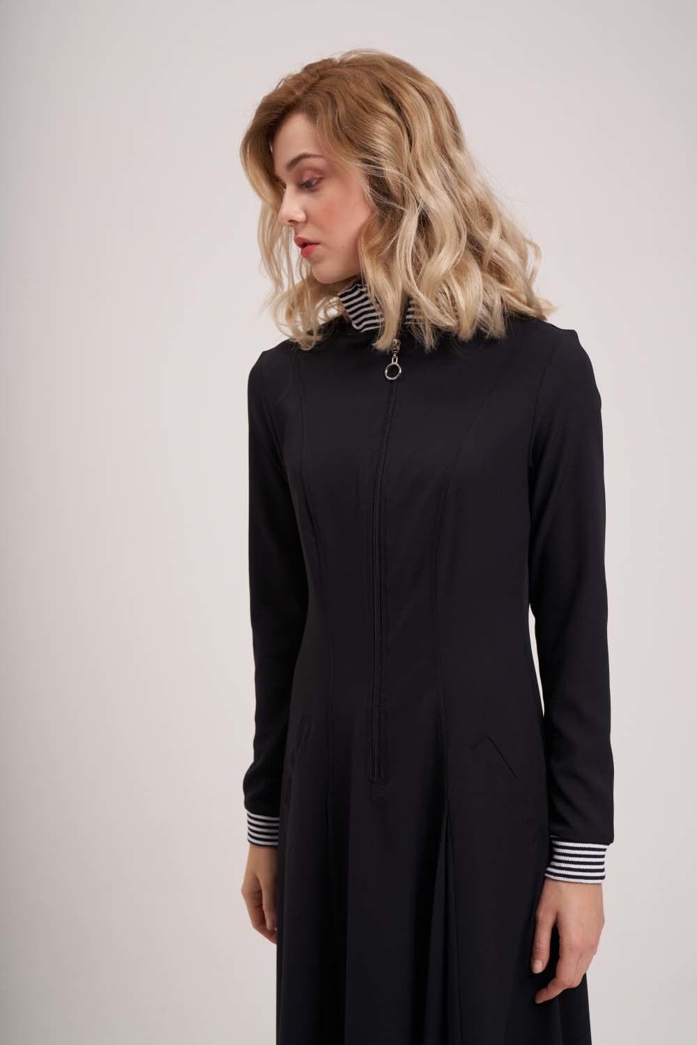Önden Fermuar Ve Ribana Detaylı Elbise (Siyah)