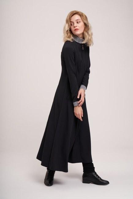 MIZALLE YOUTH - Önden Fermuar Ve Ribana Detaylı Elbise (Siyah) (1)