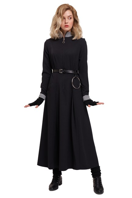 Mizalle Youth Önden Fermuar Ve Ribana Detaylı Elbise (Siyah)