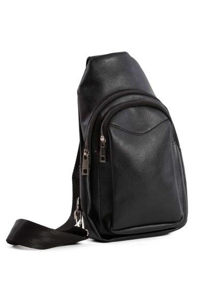 Önden Fermuarlı Mini Çanta (Siyah) - Thumbnail