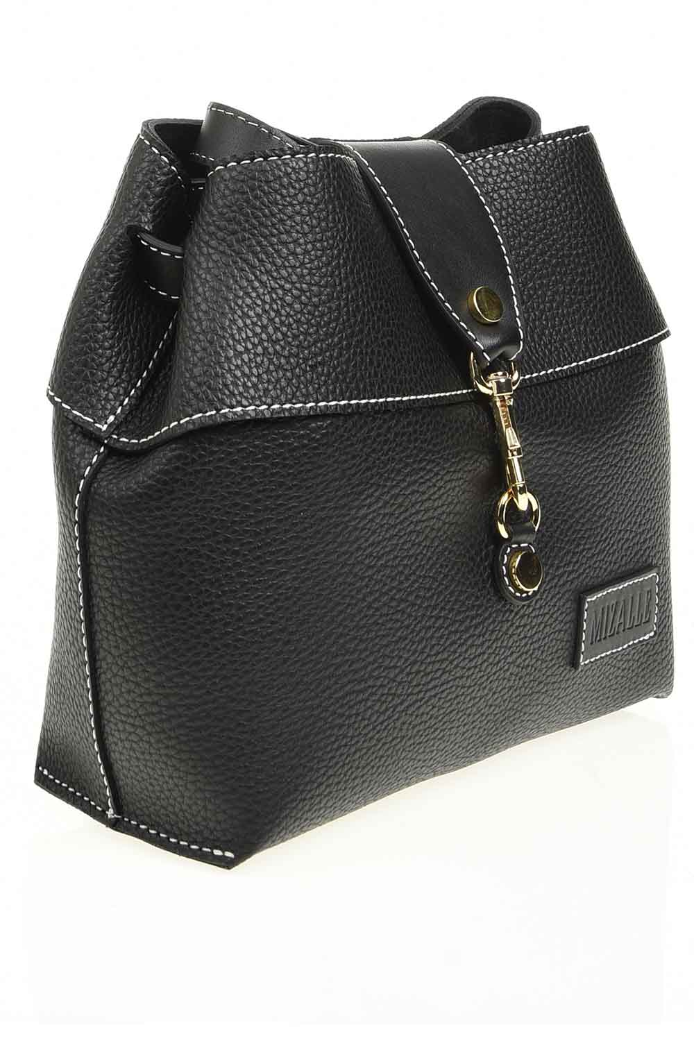 MIZALLE Classic Shoulder Bag With Front Clip (Black) (1)