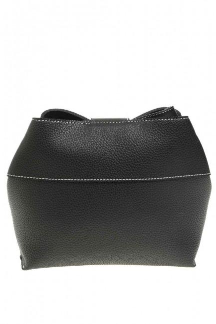 Classic Shoulder Bag With Front Clip (Black) - Thumbnail