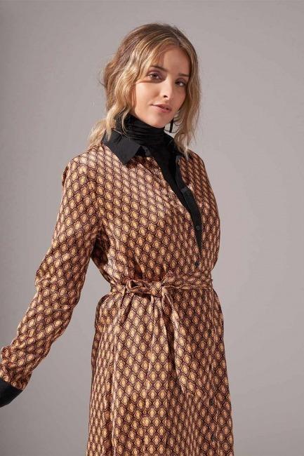 Mizalle - Önden Tam Düğmeli Desenli Elbise (Hardal)