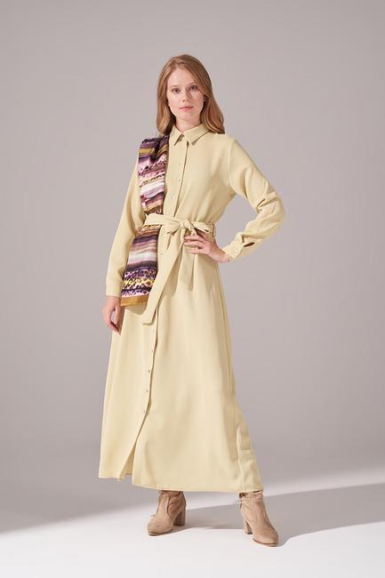 Mizalle - Önden Tam Düğmeli Krep Elbise (F. Yeşili)