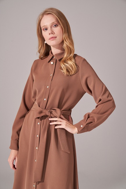 Önden Tam Düğmeli Krep Elbise (Kahverengi) - Thumbnail