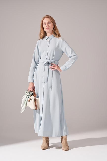 Mizalle - Önden Tam Düğmeli Krep Elbise (Mint)