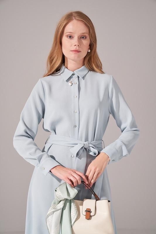 Önden Tam Düğmeli Krep Elbise (Mint)