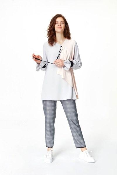 Önü Bağcıklı Tasarım Bluz (Gri) - Thumbnail