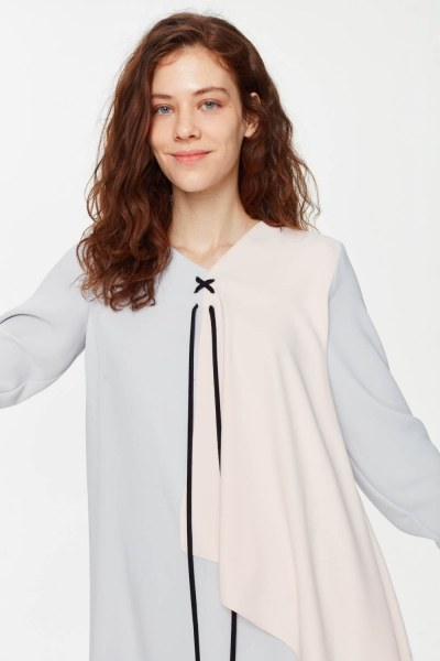 Front Lacing Blouse (Grey) - Thumbnail