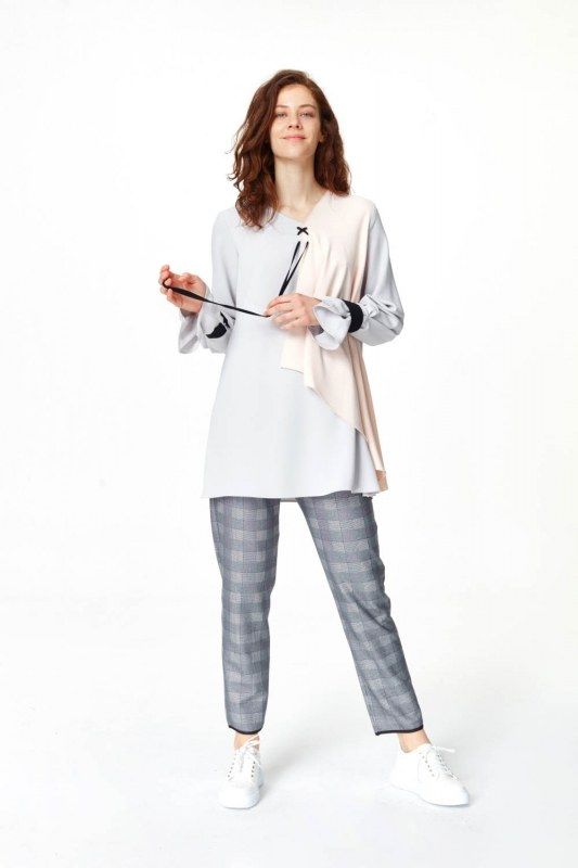 Front Lacing Blouse (Grey)