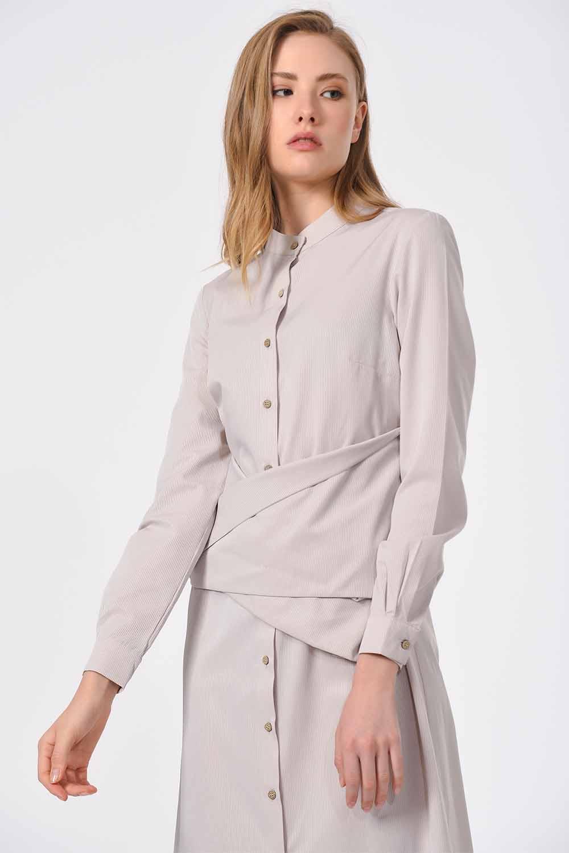 MIZALLE فستان بوبلين مع ربطات أمامية (بيج) (1)