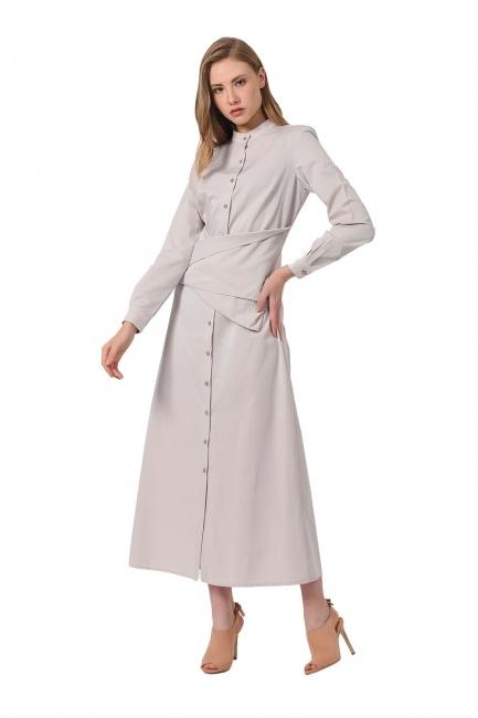 Önü Bağlamalı Poplin Elbise (Bej) - Thumbnail