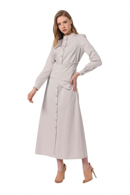 Poplin Dress (Beige) - Thumbnail