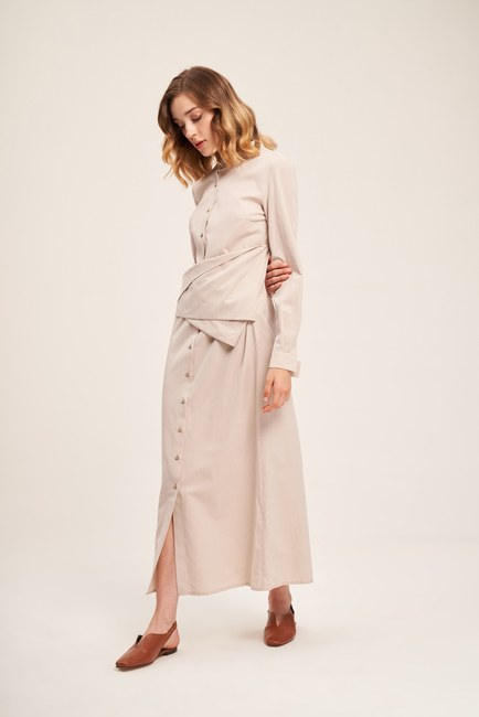 Önü Bağlamalı Poplin Bej Elbise - Thumbnail