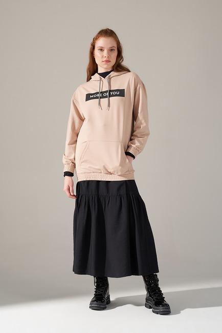 Mizalle - Önü Baskılı Sweatshirt (Bej)