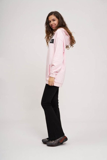 MIZALLE YOUTH - Önü Baskılı Sweatshirt (Pembe) (1)