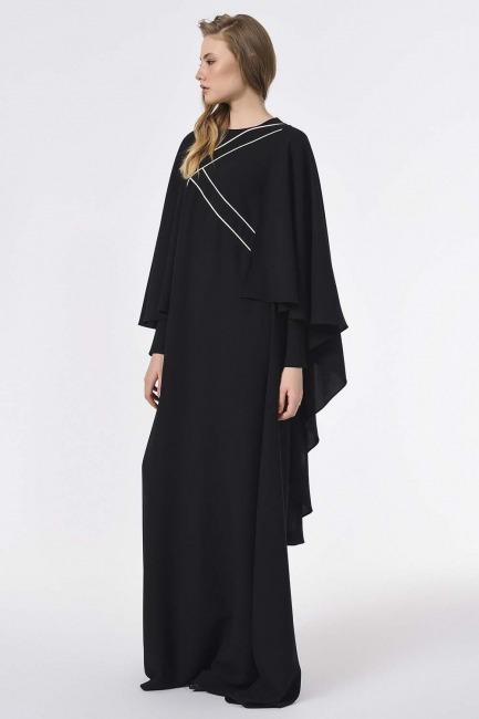 Önü Biye Detaylı Tasarım Elbise (Siyah) - Thumbnail
