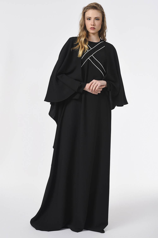 MIZALLE Önü Biye Detaylı Tasarım Elbise (Siyah) (1)
