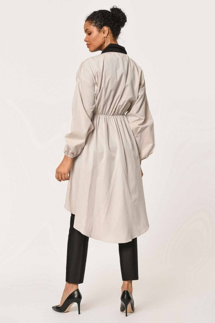 Front Fitted Tunic Shirt (Beige) - Thumbnail