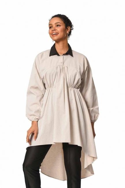 MIZALLE Önü Büzgülü Tunik Gömlek (Bej)