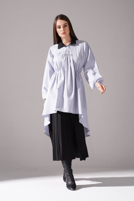 Mizalle - Önü Büzgülü Tunik Gömlek (Gri)