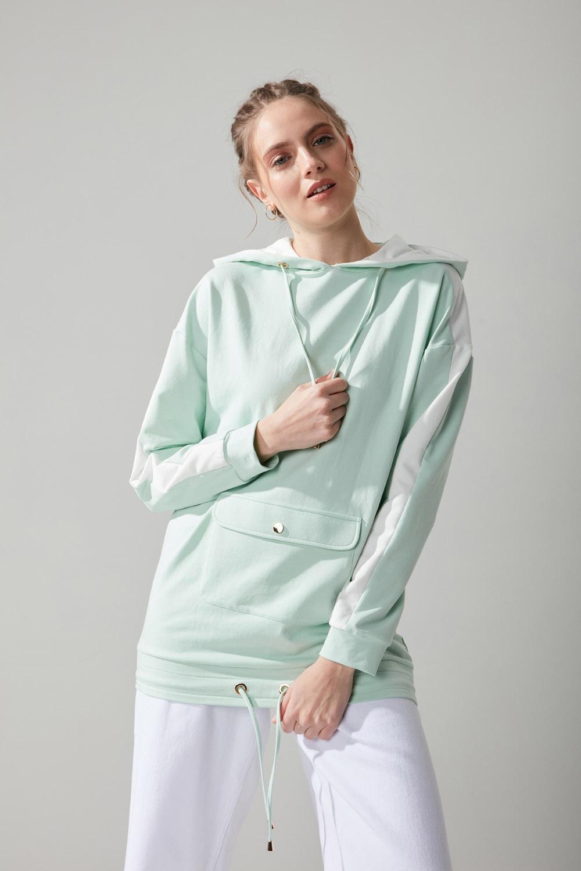 Önü Cepli Mint Sweatshirt