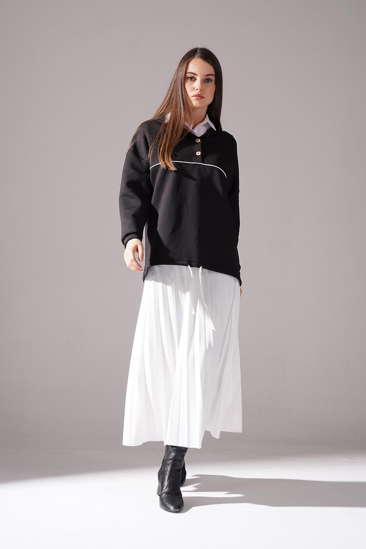 Önü Düğmeli Siyah Sweatshirt