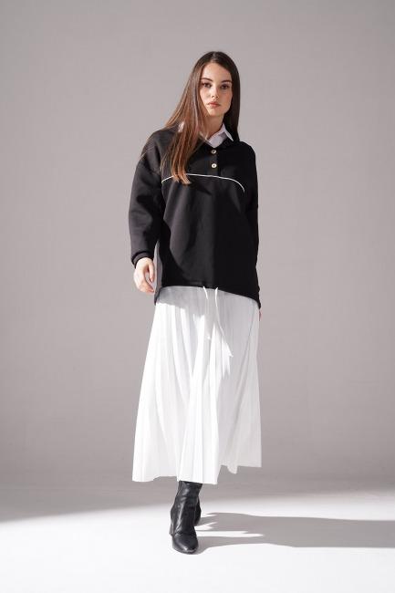 Mizalle - Önü Düğmeli Sweatshirt (Siyah)