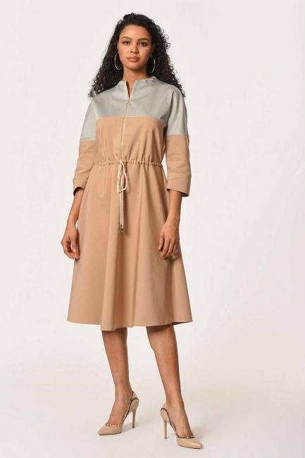 Mizalle - Önü Fermuarlı Bağcıklı Elbise (Bej)